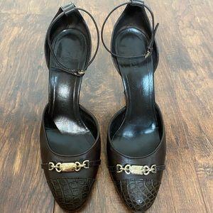 Gucci Brown Chain Logo Ankle Strap Round Toe Pumps